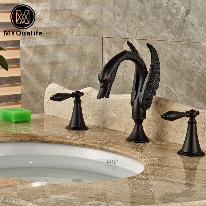 Oil Rubbed Bronze Dual Handle Basin Faucet Deck Mount Bathroom 3 Holes Washbasin Mixer Taps allen roth brinkley handsome oil rubbed bronze metal toothbrush holder