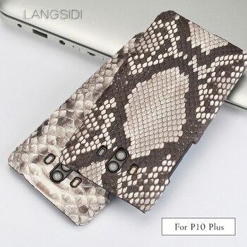 wangcangli For Huawei P10 Plus Luxury handmade real python Skin leather phone case Genuine Leather phone case
