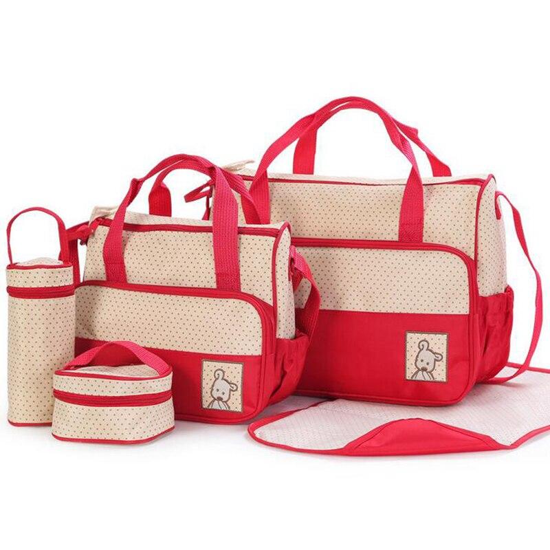 5 Pcs/set Maternity Bag Set Mummy Diaper Bags Nappy Shoulder Bags Pregnant Waterproof Multifunction Large YBJ005