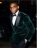 New Velvet Groomsmen Groom Tuxedos green bule latest coat pant designs Men Suits Wedding Best Man Blazer(Jacket+Pants+vest+Tie)