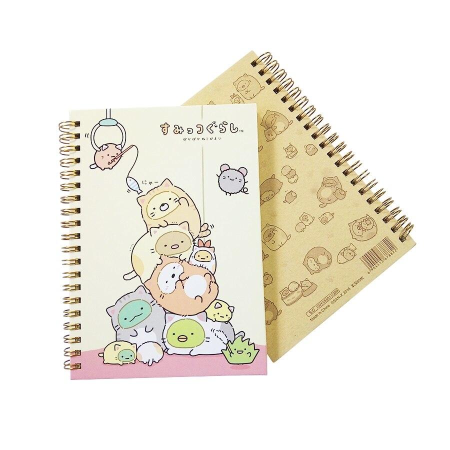 Office & School Supplies Notebooks 4 Pcs/lot Kawaii Spiral Coil Notebook/diary Agenda/office School Supplies Cartoon Rilakkuma & Sumikkogurashi 2 Style