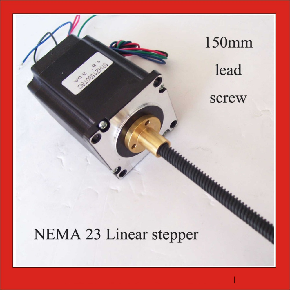 1.8 degree NEMA 23 External Linear Stepper Motor 57mm Frame 150 mm Length of Lead Screw Axial 57 slowdown stepper motor motor length 56