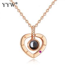 2019 Hot Sale 925 Sterling Silver Miniature Projection Necklace Heart Shape Rhinestone Golden Jewelry For Women Birthday Gifts цена 2017
