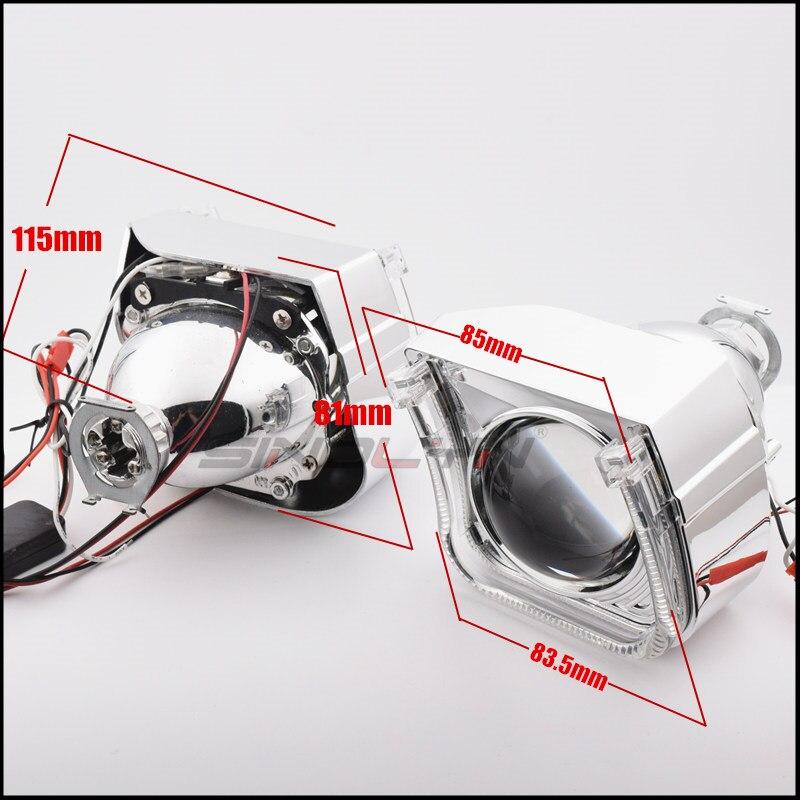 2.5 ''mise à niveau 8.0 carré U LED Angel Eyes Halo HID bi-xénon lentilles pour projecteur de voiture phare DRL H1 H4 H7 9005 9006 HB3 - 6