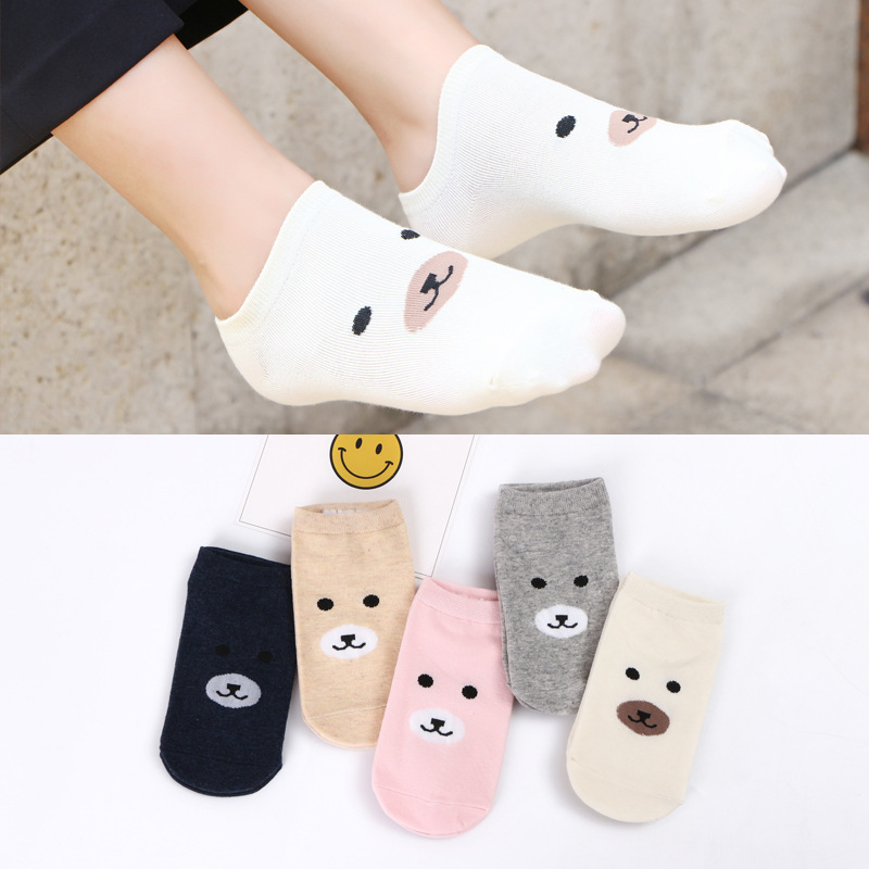Little bear Invisible Short Woman Sweat summer comfortable cotton girl boat   socks   ankle low female hosiery 1pair=2pcs ws164