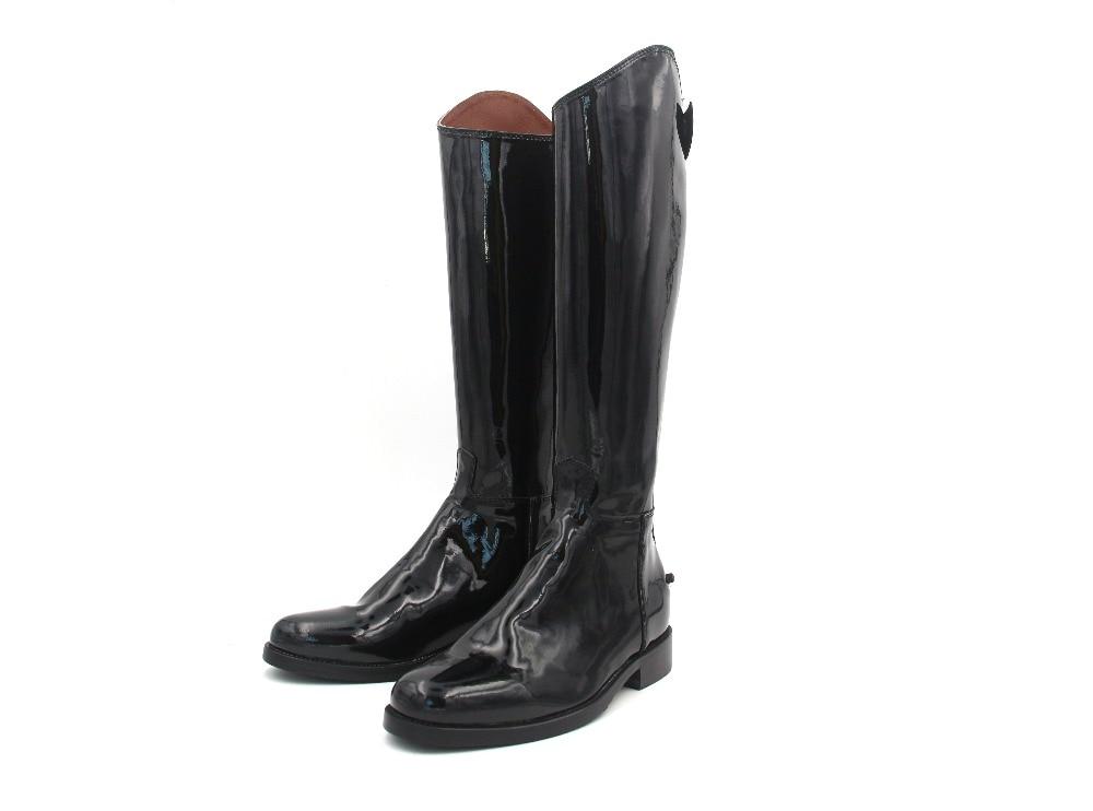 Обувь для верховой езды Лакированная кожа коровы с кожаной стелькой подошва выездке сапоги казаки Индивидуальные Оборудование для верхово
