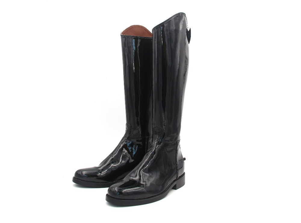 Horse Riding Boots Patent Leather Cow Leather Lining Sole Dressage Boots Equestrian Boots Customized Horse Riding Equipment