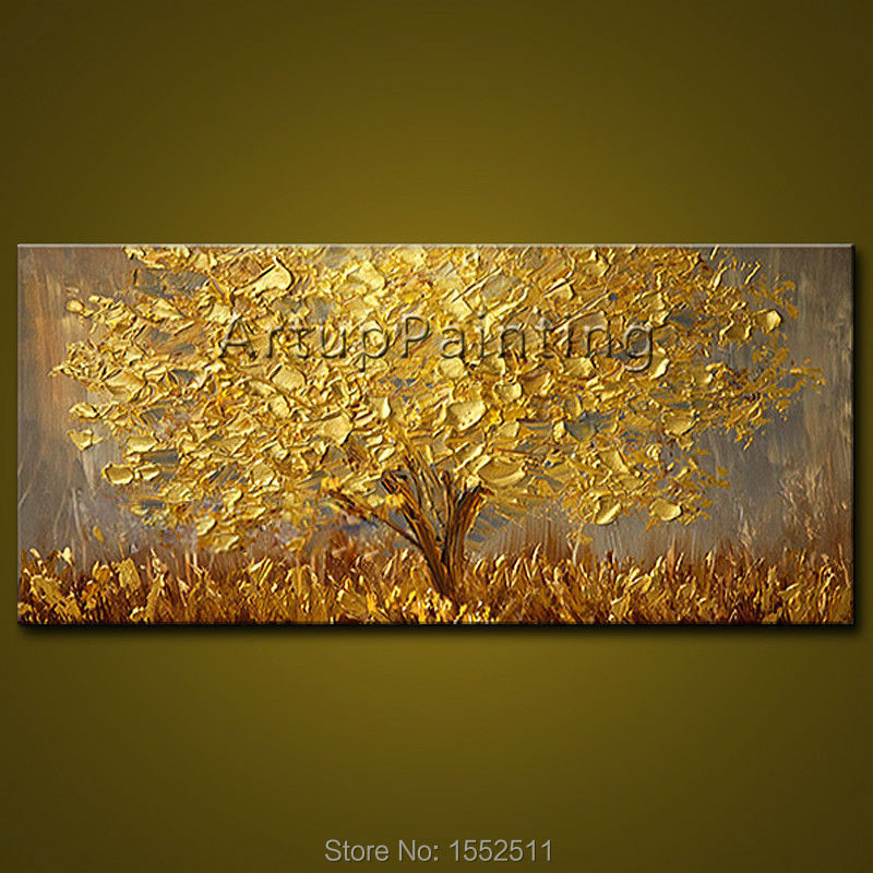 Modern Hand Painted palette knife 3D texture Flower and Tree on ...
