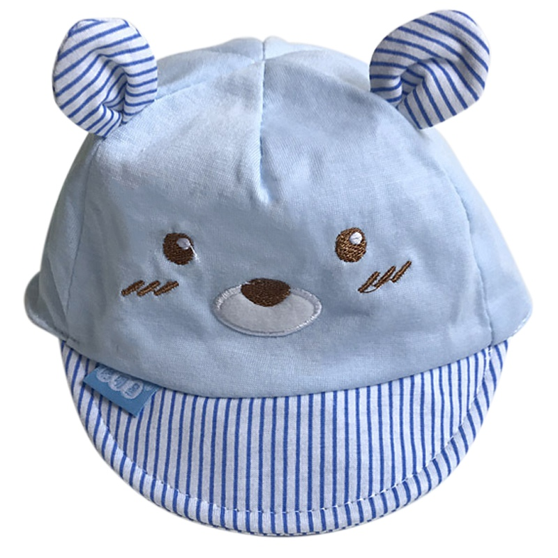 Bear Face Newborn Baby Baseball Cap - Blue Stripes