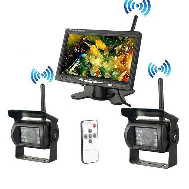 "2x Wireless mini HD camera IR Night Vision Truck Rear View vedio Camera System + 7"" LCD Monitor"
