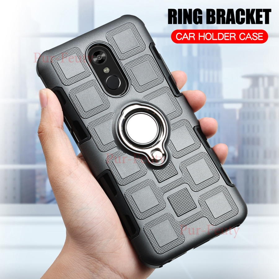 Cases For LG Stylo 4 LM-Q710CS LM-Q710MS LMQ710CS Silicone Hard Shockproof Armor Ring Holder For LG Stylo4 Q710CS Q710MS Q 710MS