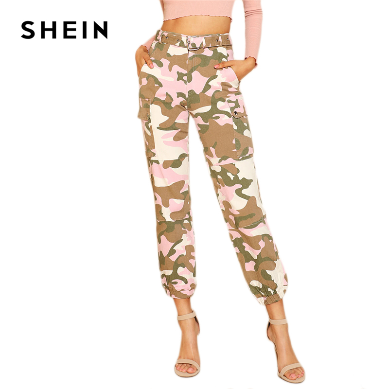09c50e62c945b SHEIN Multicolor Streetwear Modern Lady Camouflage Print Cargo Straight Leg  Pocket High Waist Pants Autumn Women Casual Trousers-in Pants & Capris from  ...