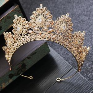 Image 1 - Champagne strass Baroque mariée couronne coréen tête bijoux mariage cheveux accessoires or cristal reconstitution historique diadèmes reine couronne