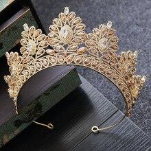 แชมเปญ Rhinestone Baroque เจ้าสาว Crown หัวเกาหลีเครื่องประดับงานแต่งงานอุปกรณ์เสริมผมทองคริสตัลประกวด Tiaras Queen CROWN