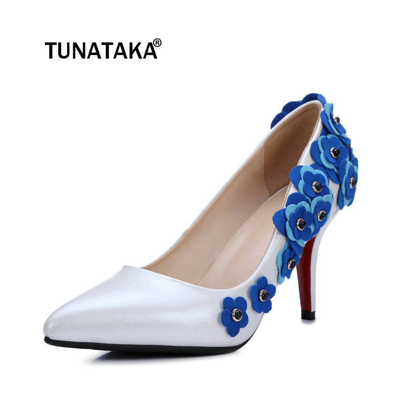 Women Genuine Leather Flowers Thin High Heel Slip On Lazy Shoes Shallow Pointed Toe Dress Party Shoes Black White цена