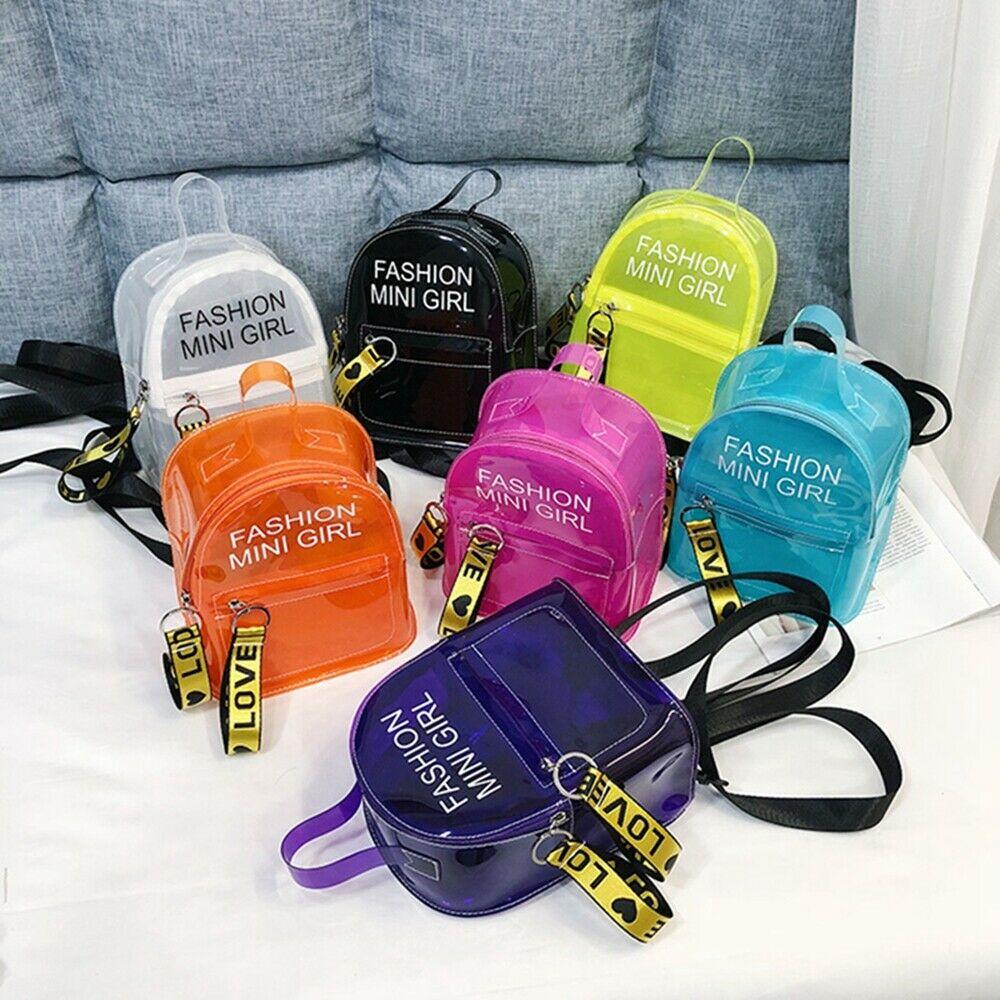 Fashion Women Mini Backpack PVC Clear Shoulder School Rucksack Ladies Girls Jelly Package Travel Bag
