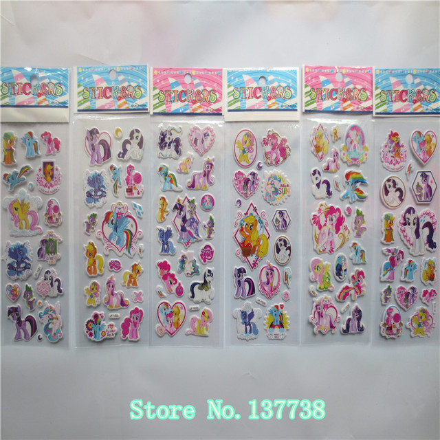 new arrival 6Pcs/lot cartoon  Horse Unicorn  cute toys  pretty Sticker 3D Puffy Animal Stickers Toys for kids