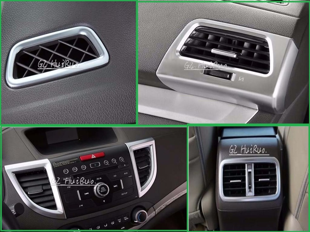 chrome Air Condition ac Vent Outlet console Cover Trim 7pcs For Honda CRV CR-V 2012 2013 2014 2015 accessories fit for honda crv cr v 2012 2013 2014 2015 chrome side door body molding trim cover line garnish protector