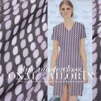 夏のドレスドレス服生地スリング薄いパープルオーバル幾何ジャガード生地韓服