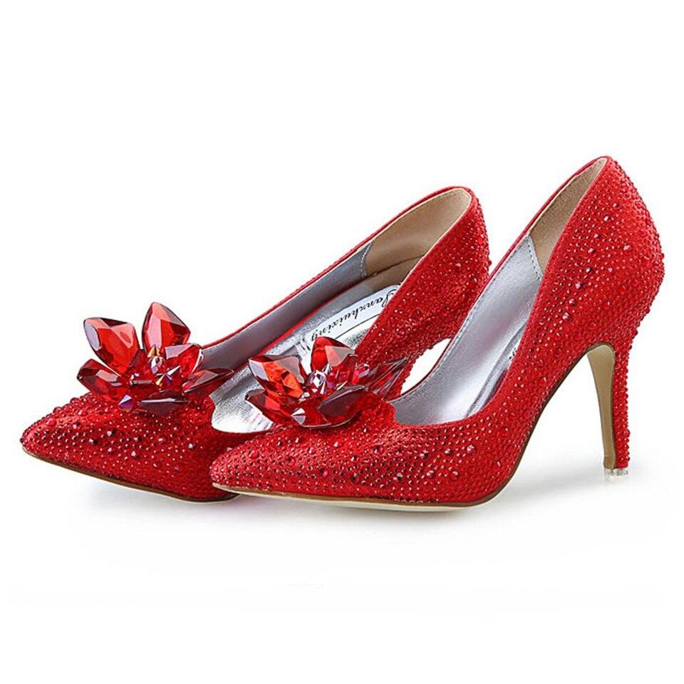 0fcfa2f0188cb3 Hauts Strass Demoiselle Femelle Rouge Cristal Rouge Femmes Cendrillon Mode  Pompes Talons D'honneur Mariée Pointu argent Stiletto De Chaussures C7ZnXq