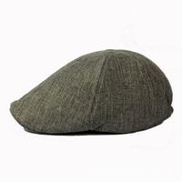 Man Linen Beret Hat Male Solid Flat Cap Gentleman Bone Black Newsboy Chapeau
