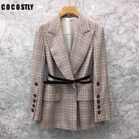 New Fashion Retro Plaid Single Clasp Waist Western Sleeve Jacket Women's Belt Plaid Blazer Womens Blazers Feminino