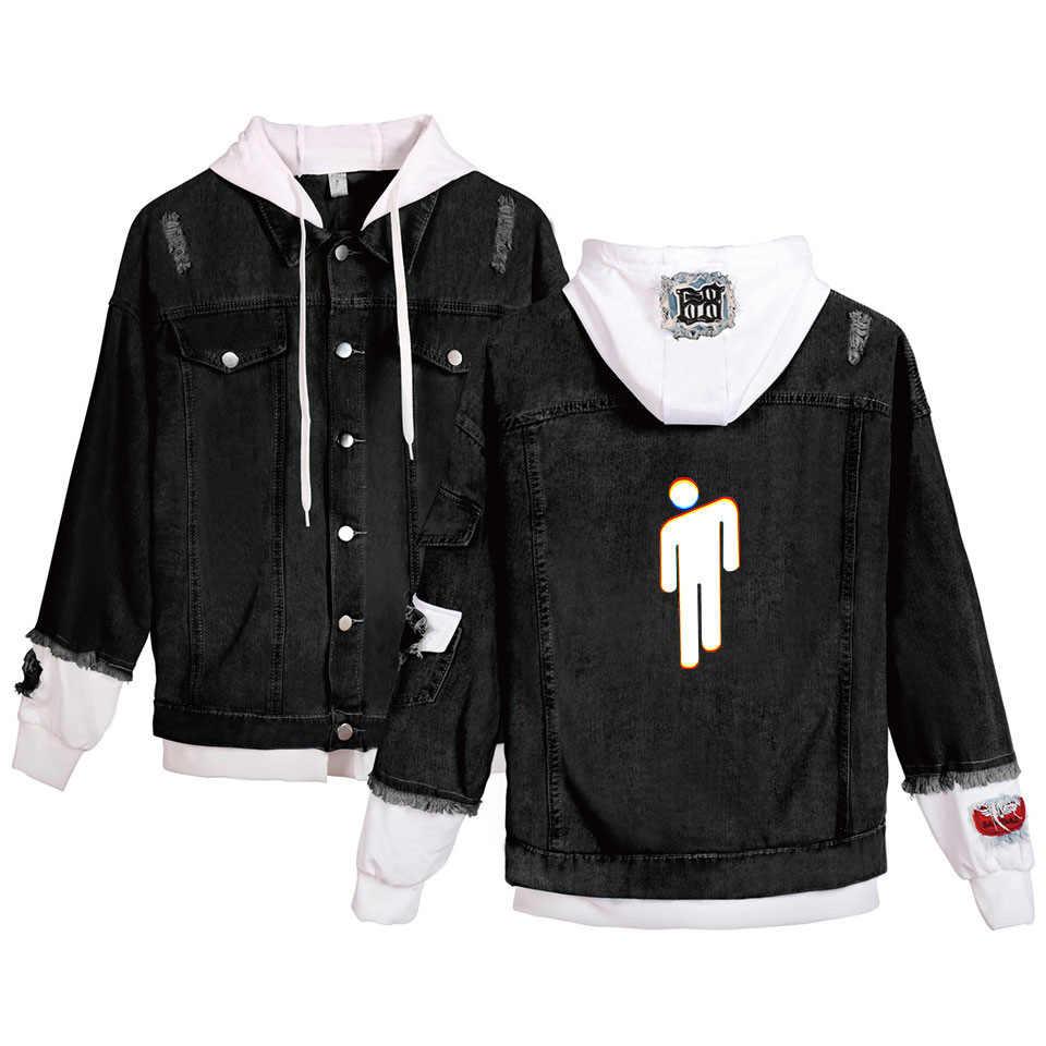 Billie Eilish/джинсовая куртка с капюшоном для мужчин и женщин, модная, имитация двух частей, уличная, хип-хоп куртка-бомбер и пальто, мужская Ковбойская одежда