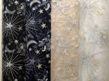 5 yards Soft Tulle Star Horse Embroidery Lace Fabric ,Floral Metallic Bridal Gown in Champagne 150cm wide