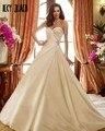 Joky Quaon Strapless Lace Up Pleat Gorgeous Autumn Winter Satin Wedding Dresses Plus Size 2017 Custom Made Bridal Gowns Noiva