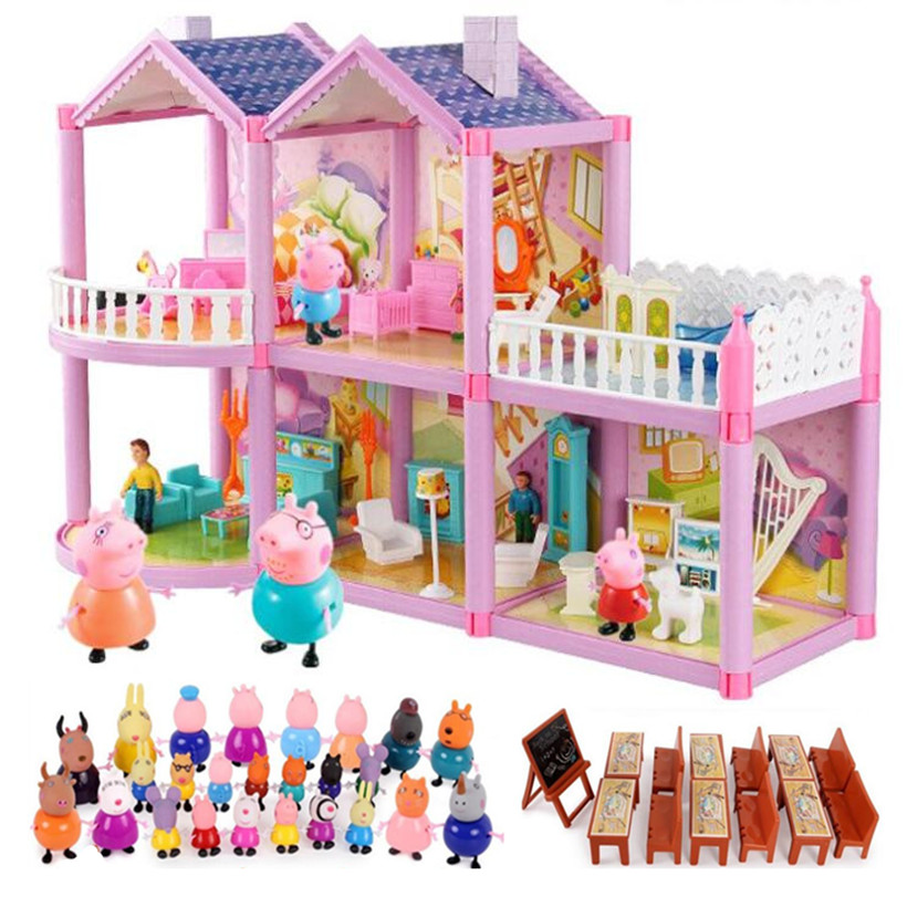 Original Peppa Pig Luxury Villa Family Educational Kids Toys Various Roles Doll Action Figure Model For Children
