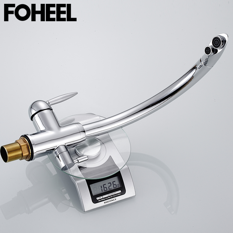 FOHEEL Black Kitchen Faucet Deck Mounted Mixer Tap 180 Degree Rotation with Water Purification Feature Crane Sink Torneira
