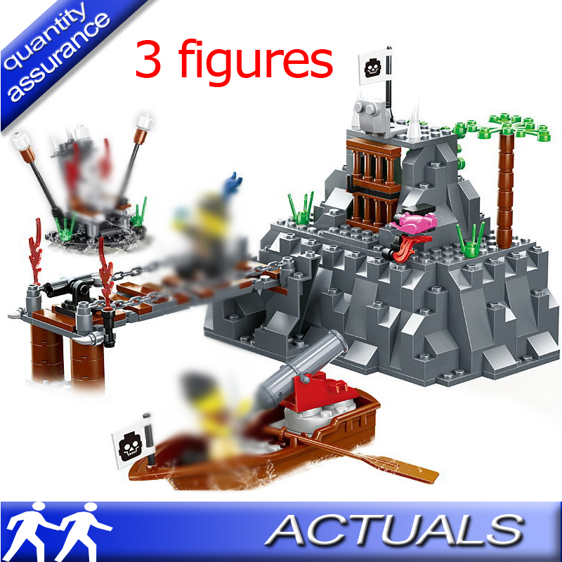 US $6 99 |Compatible With Lego Large Pirates 251pcs TABOO ISLAND Pirate  Ship Building Blocks Set Educational Toys Kids Gift Bricks Wange-in Blocks