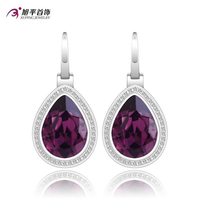 Xuping Pendiente de La Manera Al Por Mayor Calidad Cristales de Swarovski Element Color Plateado Encanto Diseño para Mujeres XE2118