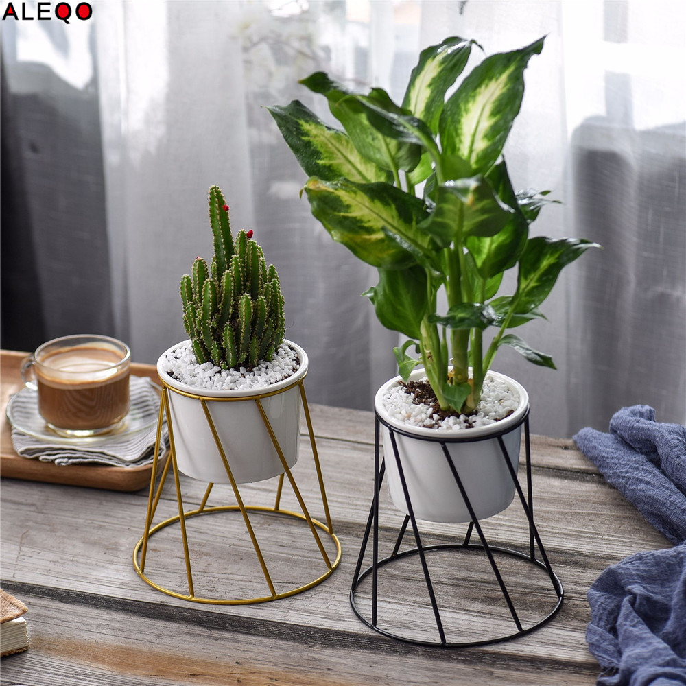 Géométrie Type céramique stockage pot réservoir avec étagères en métal Chic nordique articles divers organisateur fleur Vase bureau stockage étain pour la maison