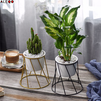 Geometry Type Ceramics Storage Jar Tank with Metal Shelves Chic Nordic Sundries Organizer Flower Vase Desk Storage Tin for Home