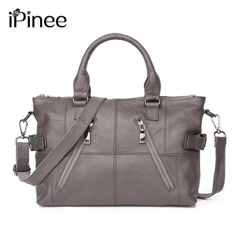 iPinee 100 Cowhide Female Ziper HOBO Handbags Women GENUINE LEATHER Shoulder bag Top Layer Leather Messenger