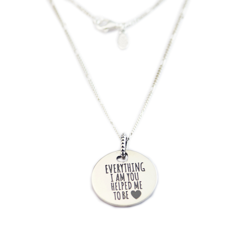 925 Sterling Silver Everything I Am You Helped Me To Be Disc Necklace For Women Original Fits European Style Jewelry CKK