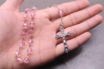 TZK 8mm plastic bead long bracelet. Good Virgin Mary prayer bracelet. Blessing Crystal Bracelet Rosary, Catholic Long Bracelet фото