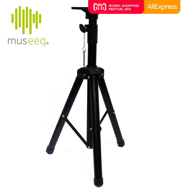 Museeq Heavy-Duty Tripod Speaker Stand - Adjustable Retractable Tripod with Bracket Mount for DJ/PA Speakers цена и фото