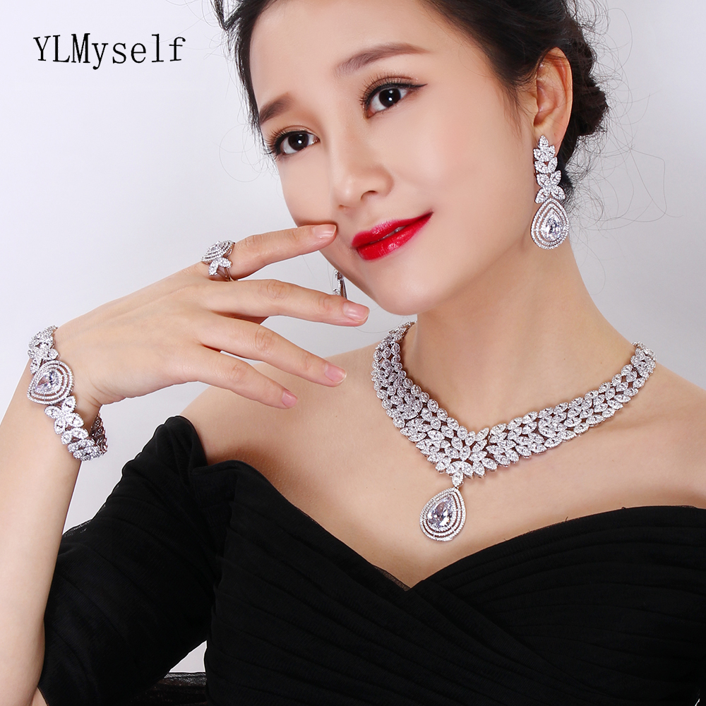 Luxury 4pcs jewelry set for party Necklace+Earrings+Bracelet+Gift Ring crystal White/ Gold color very large wedding jewelry sets italian charm women wedding anniversary 24 gold jewelry sets crystal necklace bracelet earrings exquisite gift jewelry