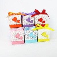 Tüm Satış 50 X Hollow Kalp Düğün Şeker Kutusu Kırmızı/Pembe/Mor/Turuncu Hediye Kutusu Düğün Parti tedarik Şerit Dahil