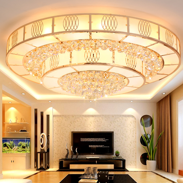 Moderne Chinese ronde E14 plafond lampen woonkamer glas kristal ...