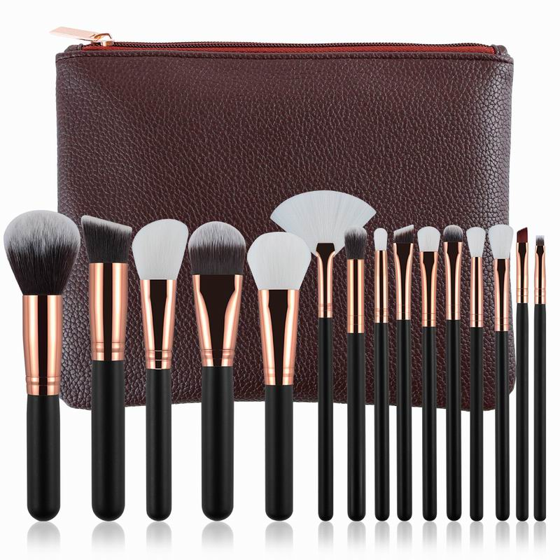 New Professional 15pcs Rose Golden/Pink Makeup Brushes Set Cosmetic Make Up Tools Kit Powder Foundation Eyes Brush with bag professional cosmetic makeup brushes in a pink pu bag