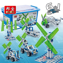 BanBao 6 In 1 Building Blocks Wind Power Energy Technic Windmill Plane Assemble Bricks Educational Model Children Kids Toy 6906