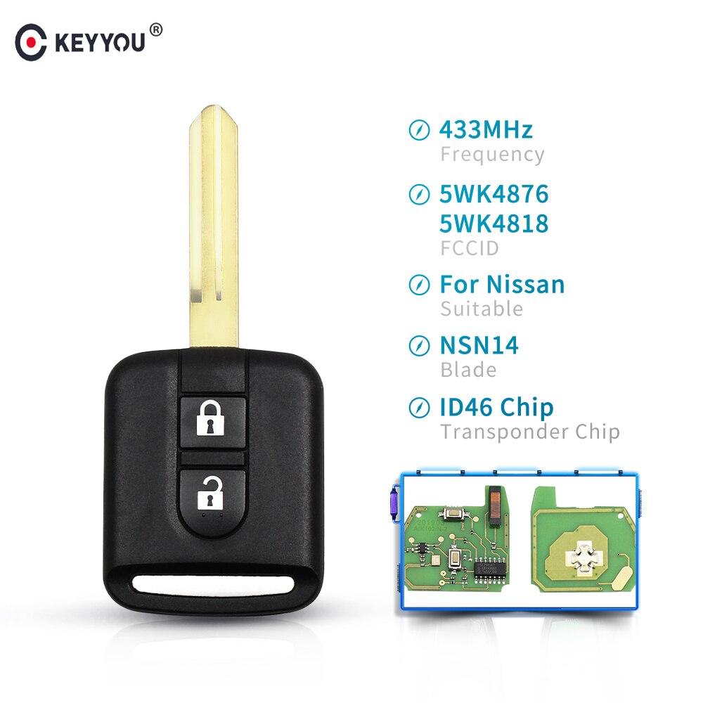 KEYYOU 2 Button Car Remote Key 433Mhz For Nissan Elgrand X-TRAIL Qashqai Navara Micra Note NV200 FCCID 5WK4876/818 ID46 Chip