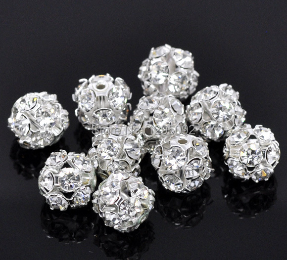 50Pcs Sliver Plated Ornate Filigree Rhinestone Balls Spacers Beads Jewelry Making Charms Findings Wholesales 10mm