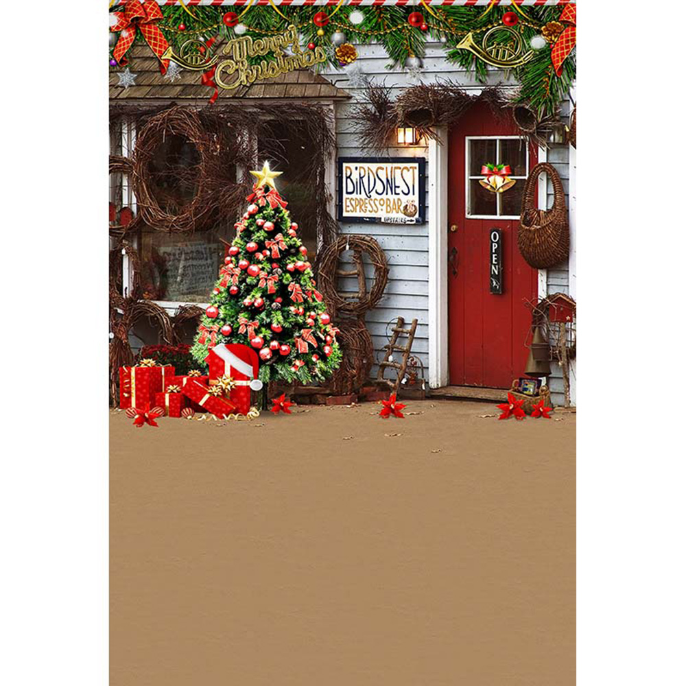 merry xmas party photo booth backdrop printed garland decorated christmas tree present boxes red door bar photography background in background from consumer