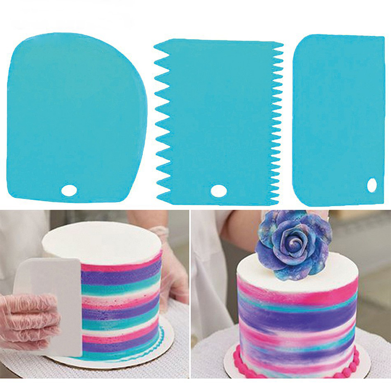 3PCS/Set  High Quality Colorful Multifunctional Irregular Teeth Edge DIY Cream Scraper Set Cake Mold Kitchen Tools