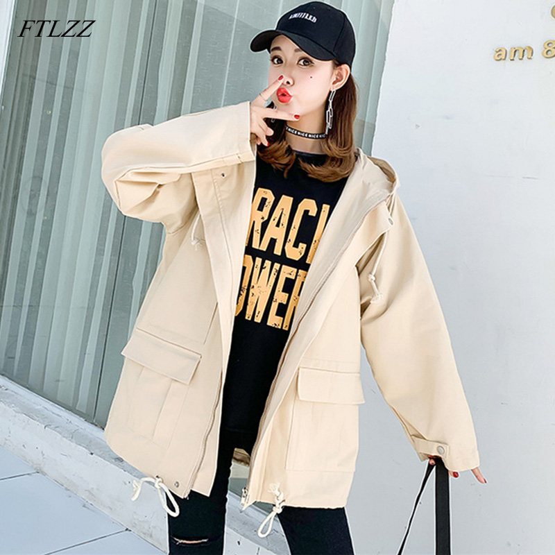 FTLZZ New Women Hooded   Trench   Coat Spring Autumn Loose Windbreaker Coats Female Outerwear Clothing Tops