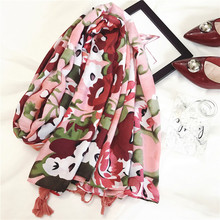 Spring and summer new national style women scarves King Dan flowers printed tassels scarves large sun shawls travel essential(China)